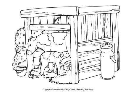 mlk coloring pages - cow scene colouring page
