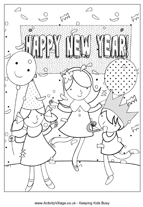 mlk coloring pages - happy new year party colouring page