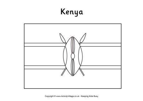 mlk coloring pages - kenya flag colouring page
