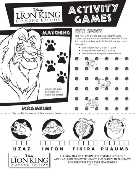 mlk coloring pages - lion king activity sheet