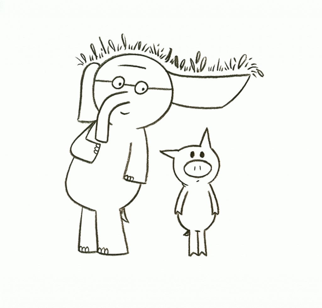 mo willems coloring pages - elephant and piggie coloring pages