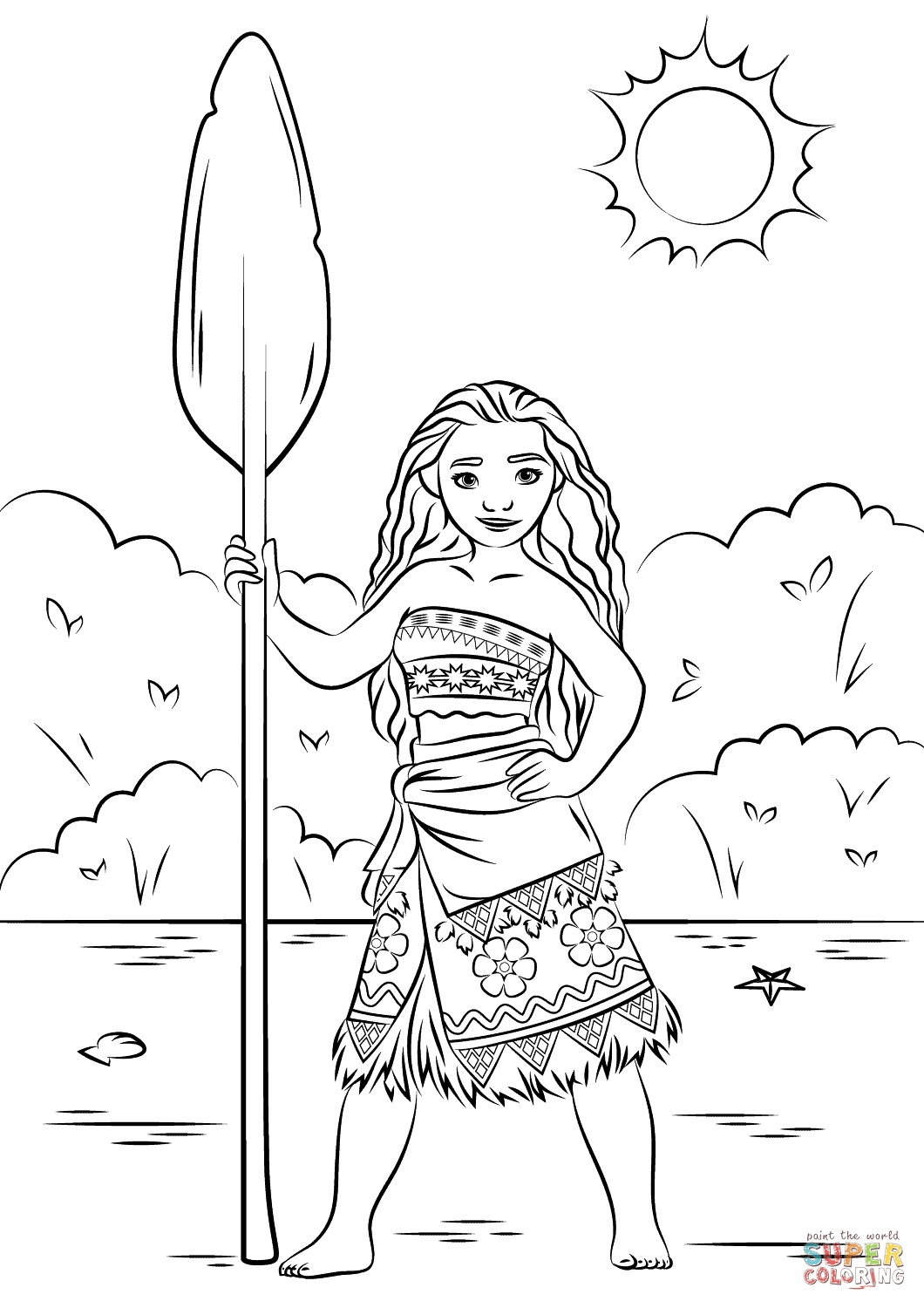 Moana Color Pages - Princess Moana Coloring Page