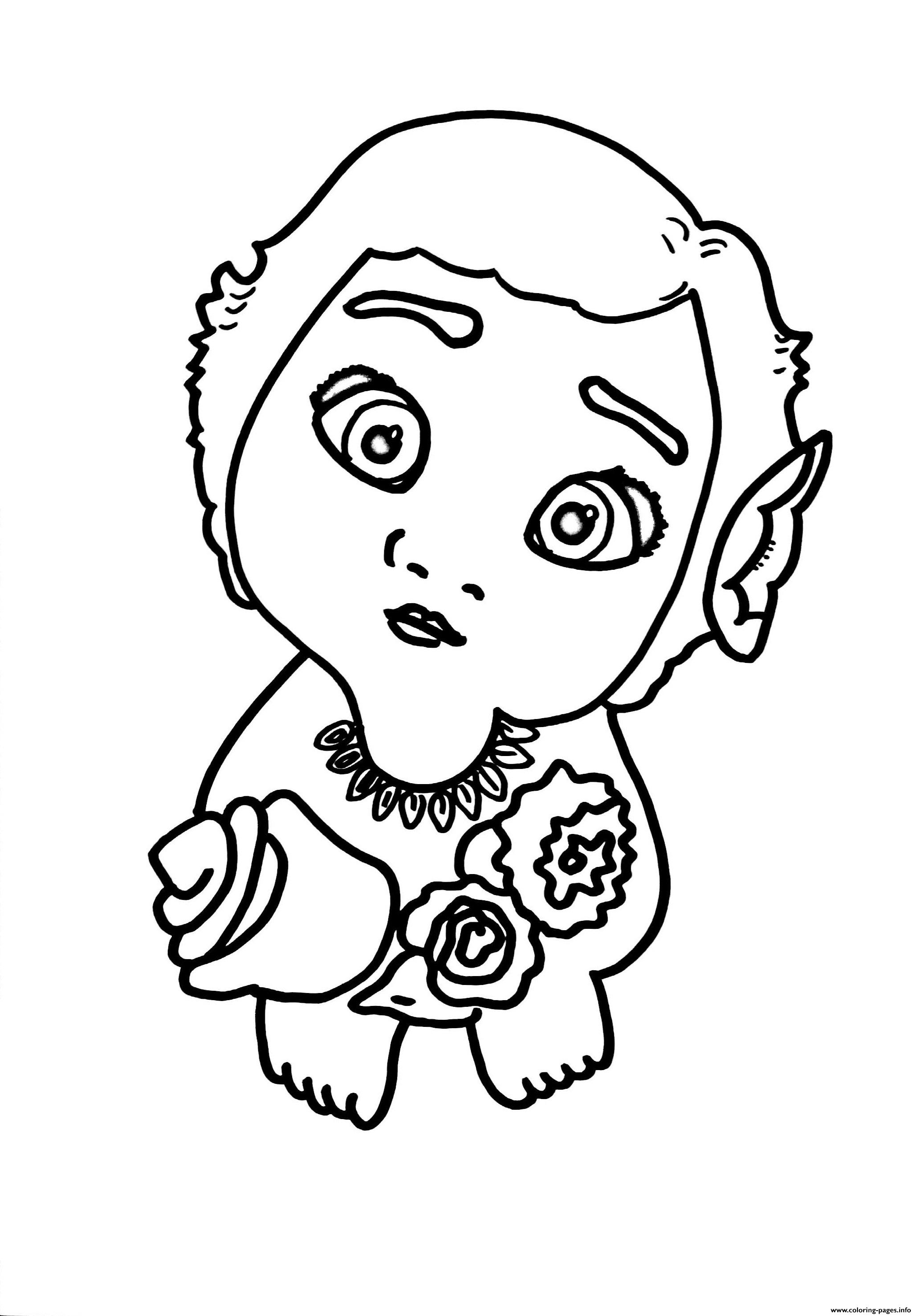 moana coloring pages free - baby moana with flowers printable coloring pages book