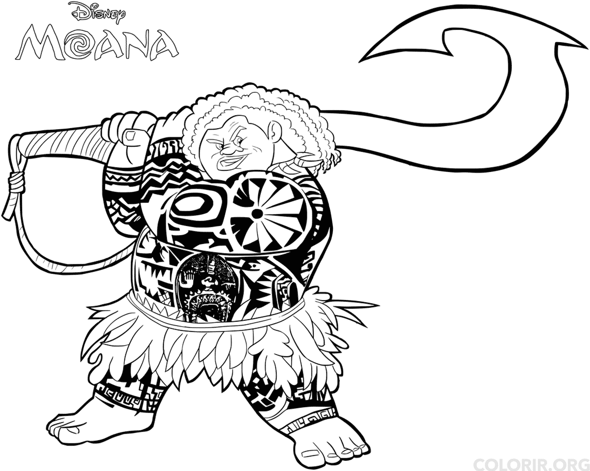 Moana Printable Coloring Pages - Maui Para Colorir — Colorir