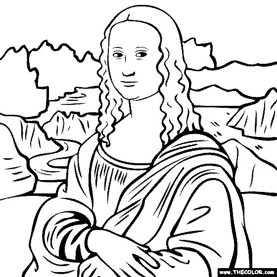 mona lisa coloring page - the most awesome and also attractive mona lisa coloring page with regard to encourage in coloring picture