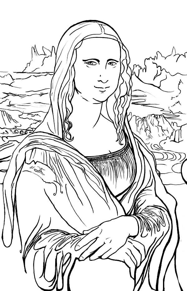 Mona Lisa Coloring Page - the Most Awesome and Also attractive Mona Lisa Coloring