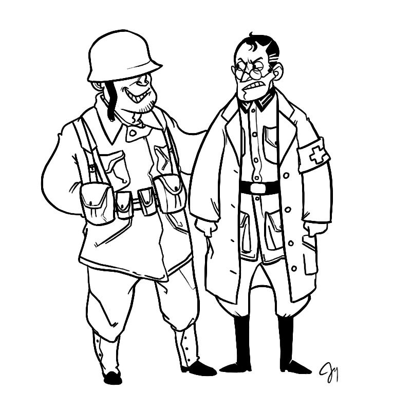 monkey coloring pages - TF2 WWII Sol r and Medic