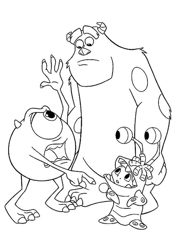monsters inc coloring pages - easy monsters inc characters coloring pages sketch templates