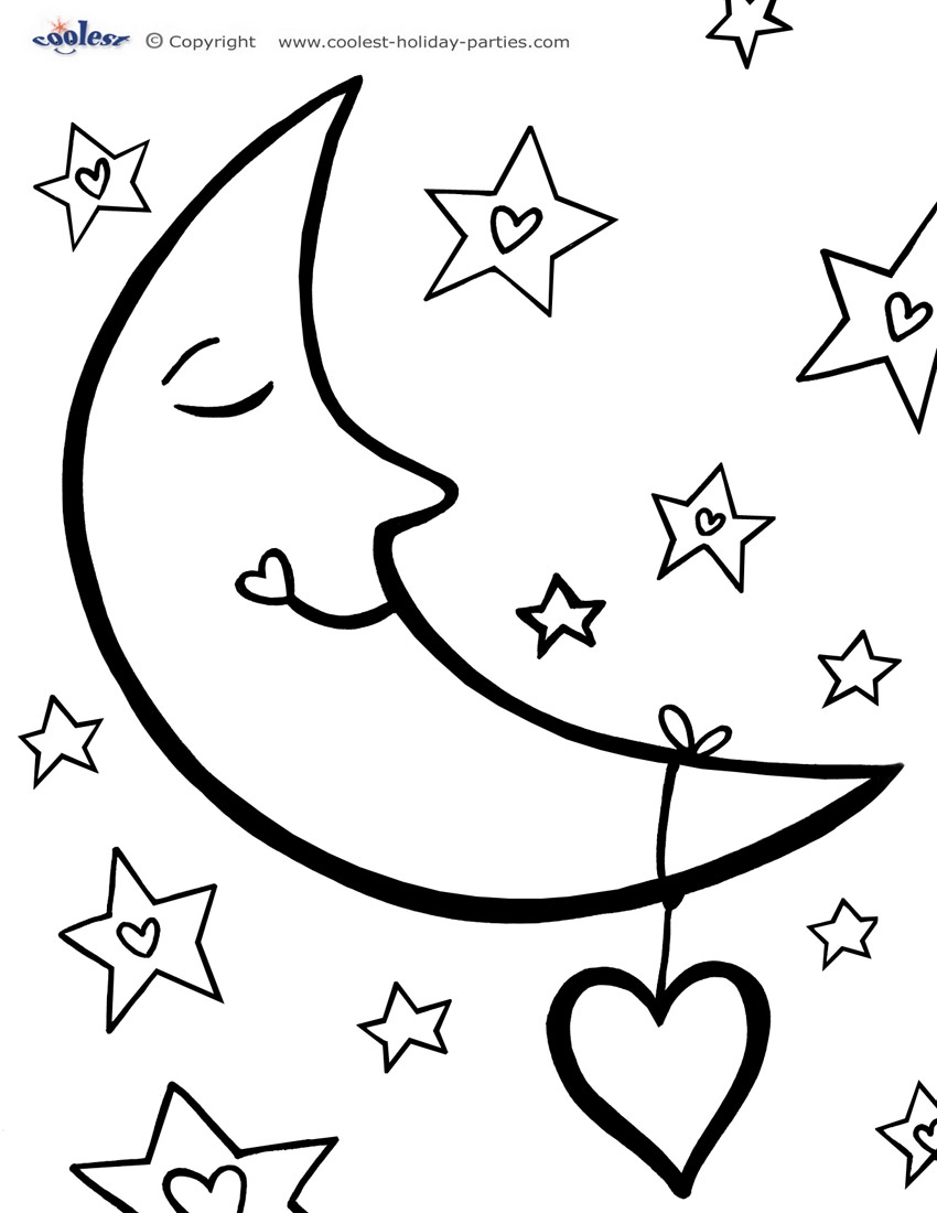 Moon and Stars Coloring Pages - Free Moon and A Star Coloring Pages