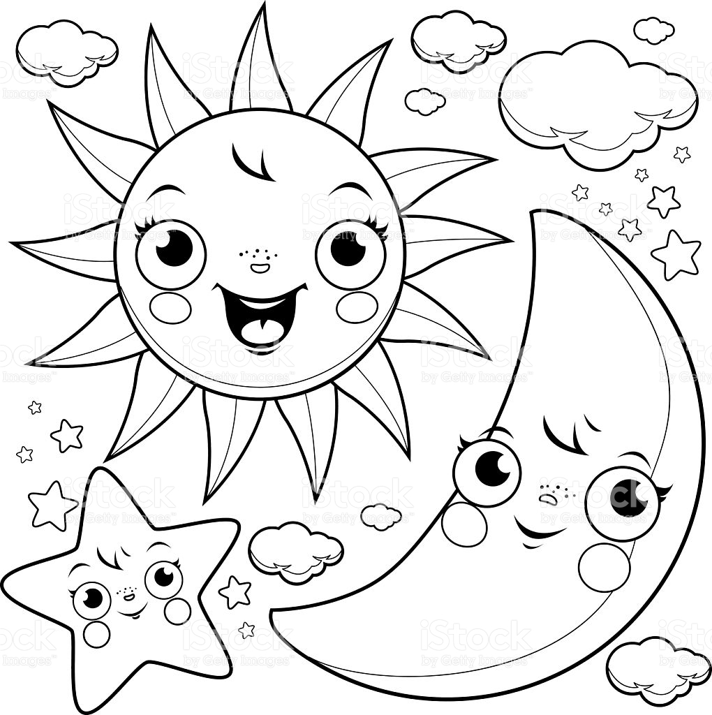 moon and stars coloring pages - sun moon and stars coloring page gm