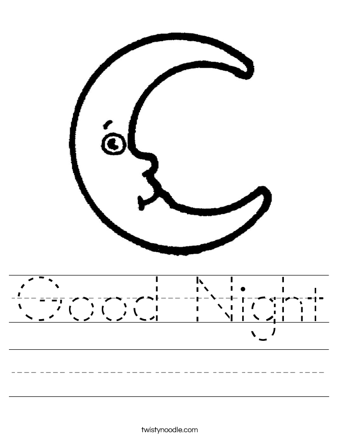 moon coloring pages - good night 3 worksheet