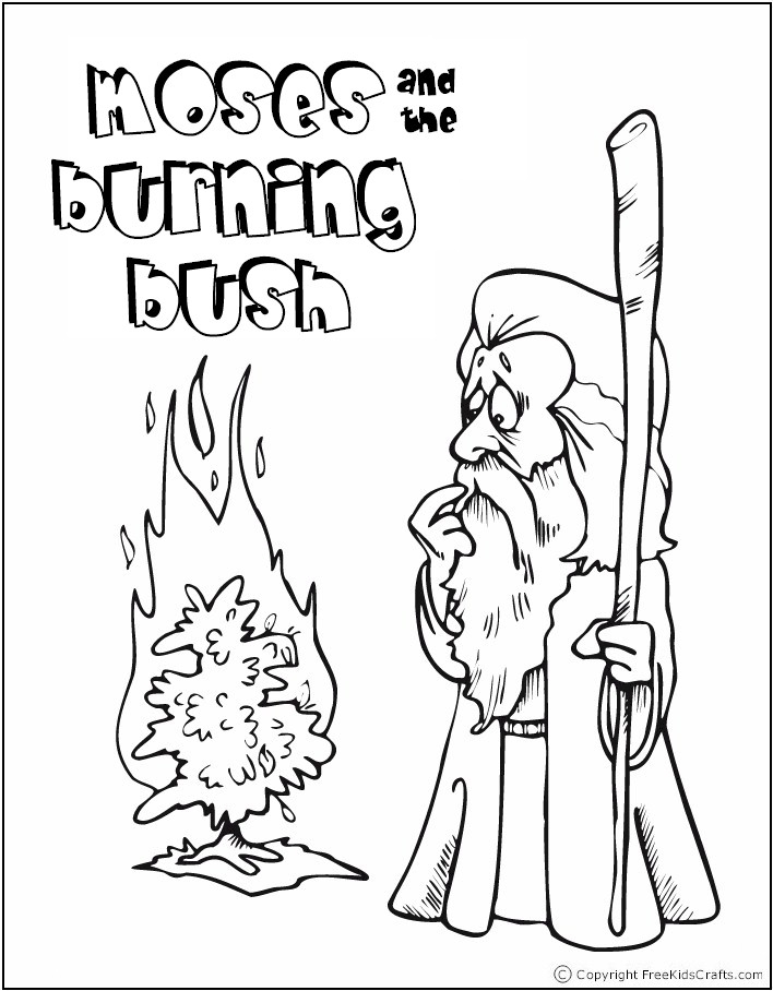 moses and the burning bush coloring page - bible story coloring page
