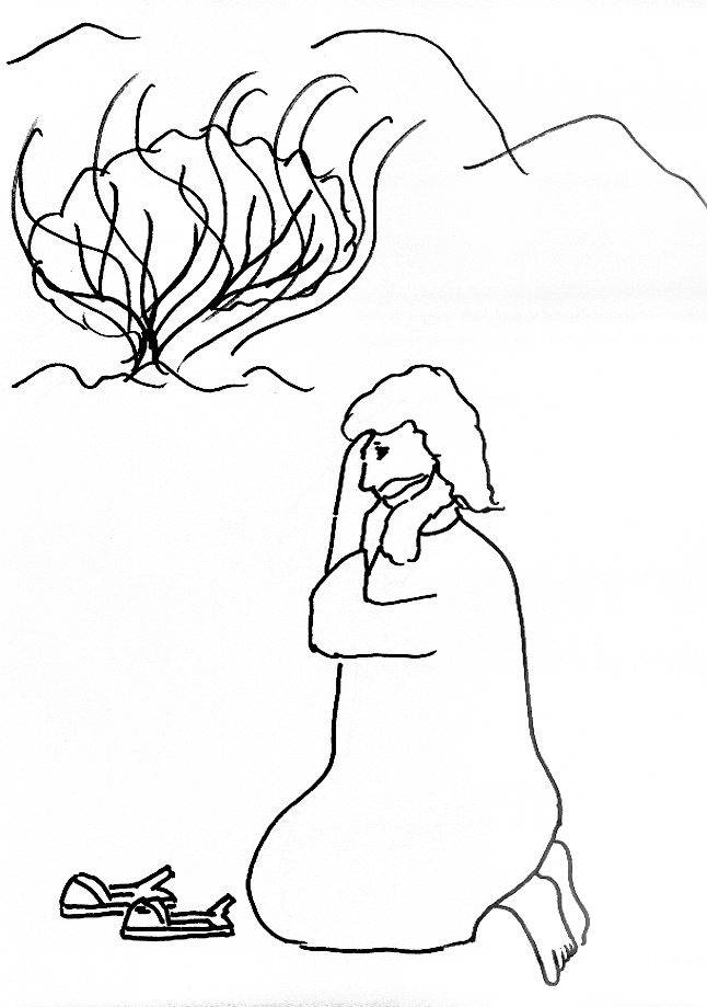 moses and the burning bush coloring page - bible story coloring page for moses and the burning bush