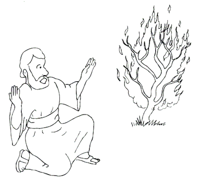 moses and the burning bush coloring page - coloringbook