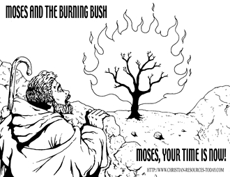 moses and the burning bush coloring page - free bible coloring pages