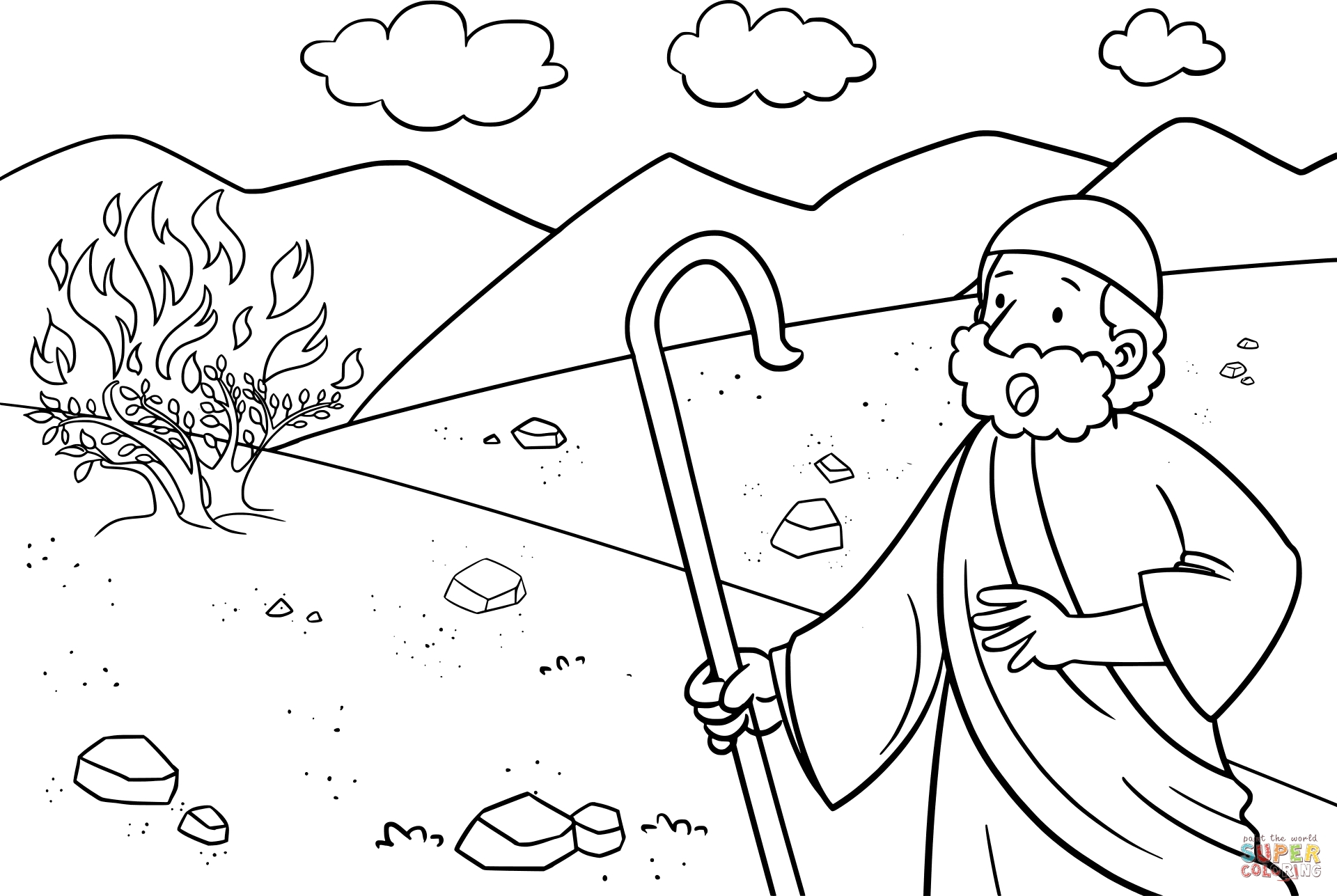 moses and the burning bush coloring page - moses and burning bush coloring page 2