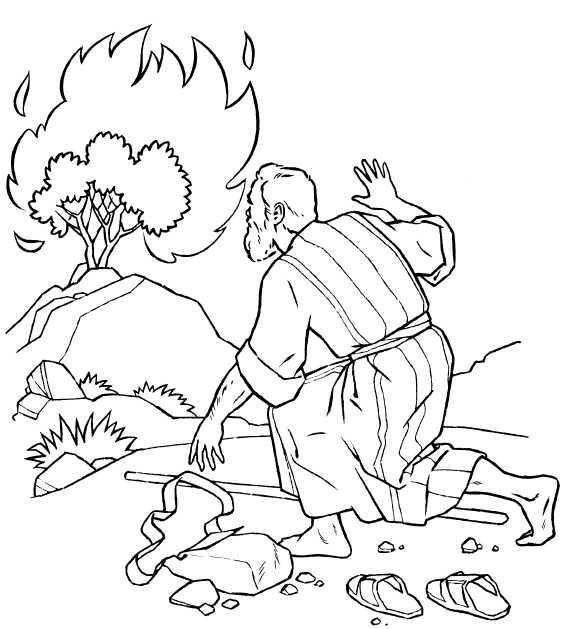 moses and the burning bush coloring page - q=burning bush moses
