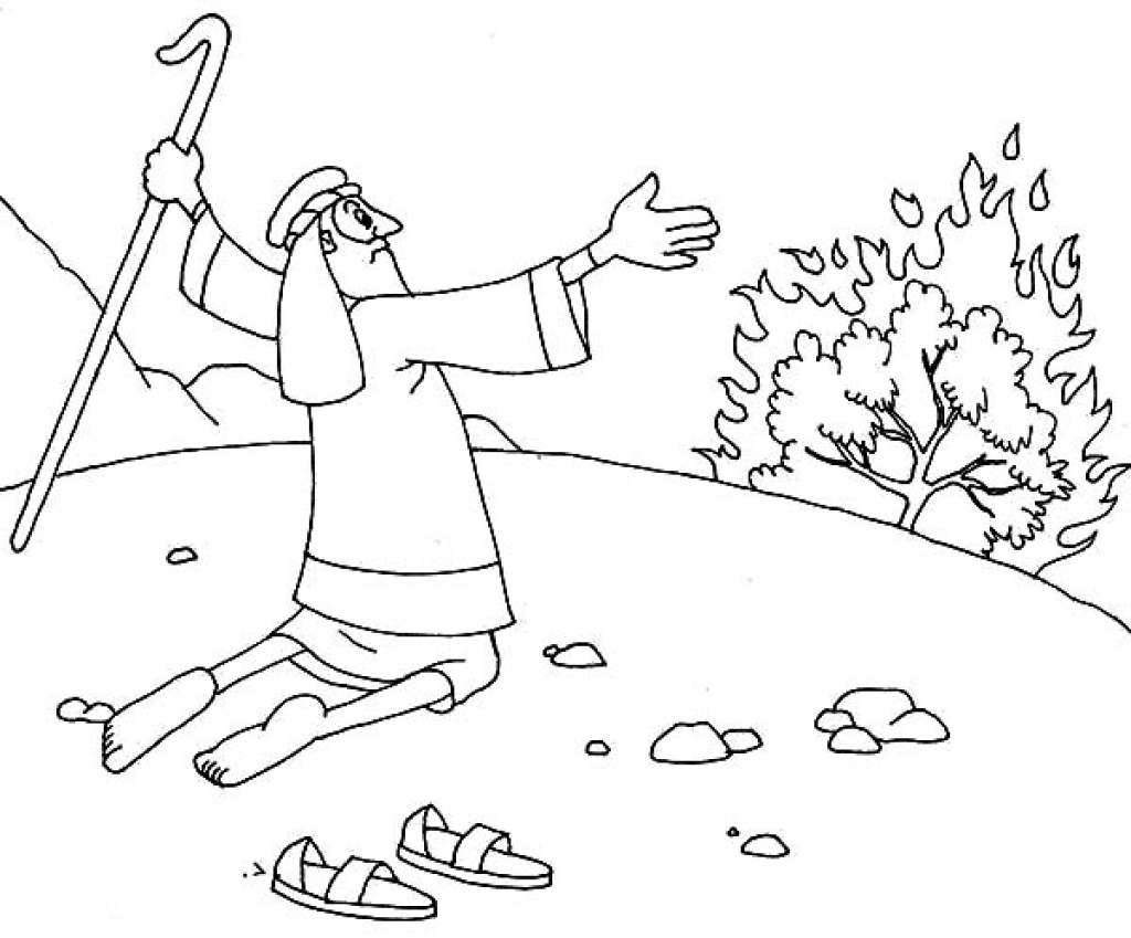 moses and the burning bush coloring page - moses and burning bush coloring page az coloring pages within moses burning bush coloring page