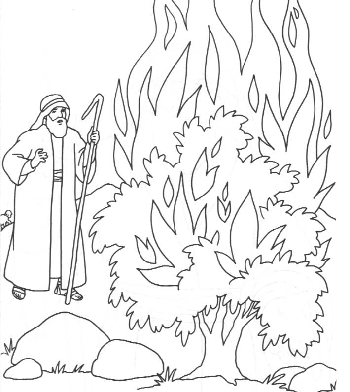 moses and the burning bush coloring page - moses and the burning bush coloring page