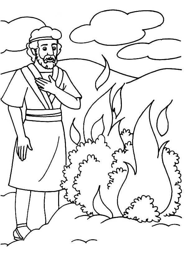 moses and the burning bush coloring page - best moses and the burning bush coloring pages 9158
