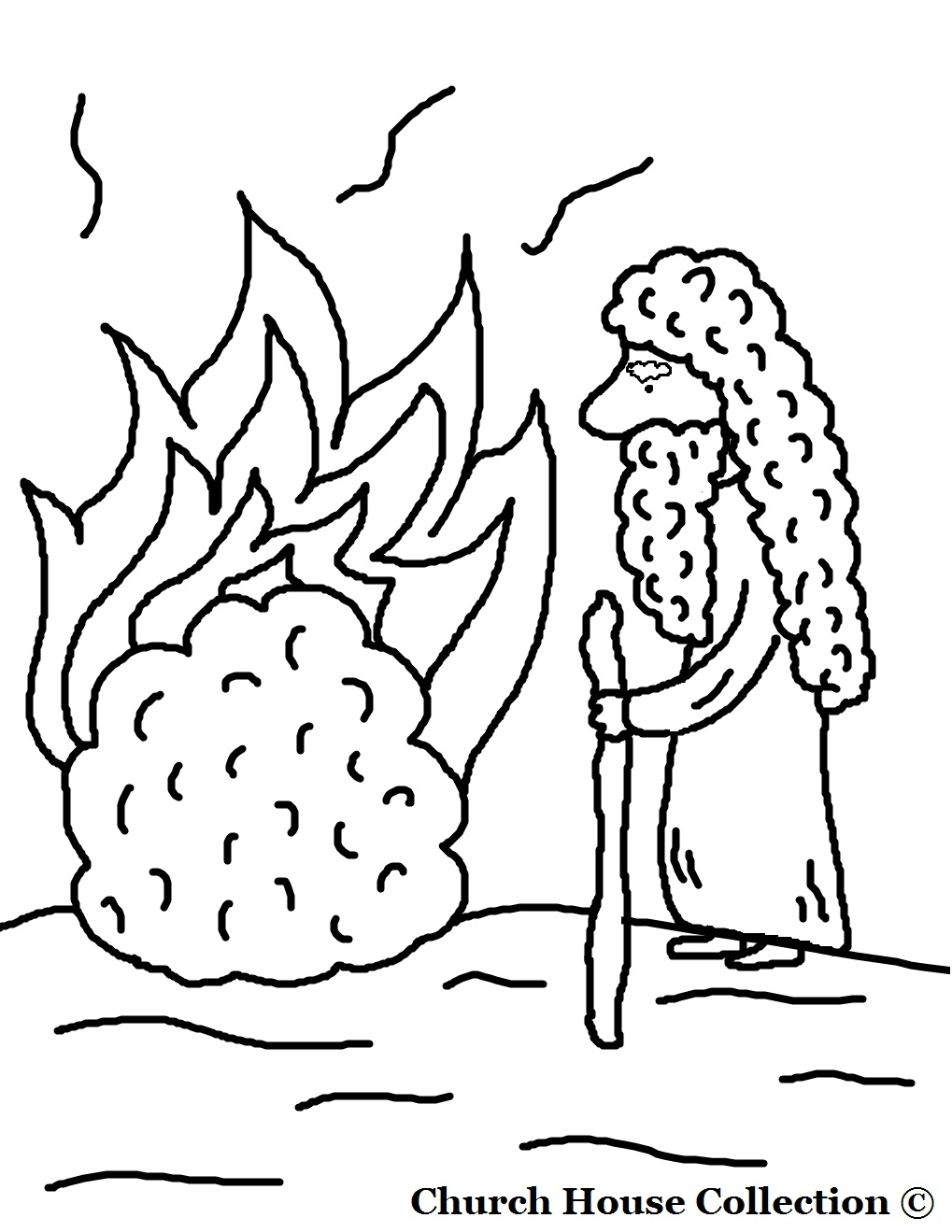 moses and the burning bush coloring page - moses and the burning bush coloring pages