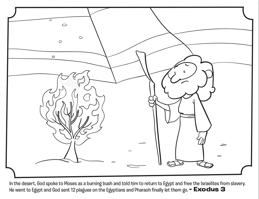 moses and the burning bush coloring page - moses burning bush coloring page
