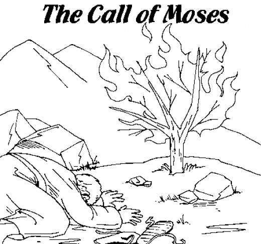 Moses and the Burning Bush Coloring Page - Moses Printable Coloring Pages