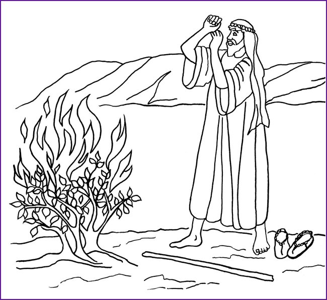 moses and the burning bush coloring page -