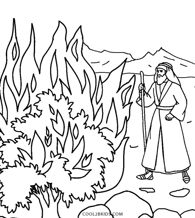 Moses and the Burning Bush Coloring Page - Printable Moses Coloring Pages for Kids