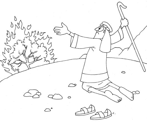 moses and the burning bush coloring page - moses coloring pages