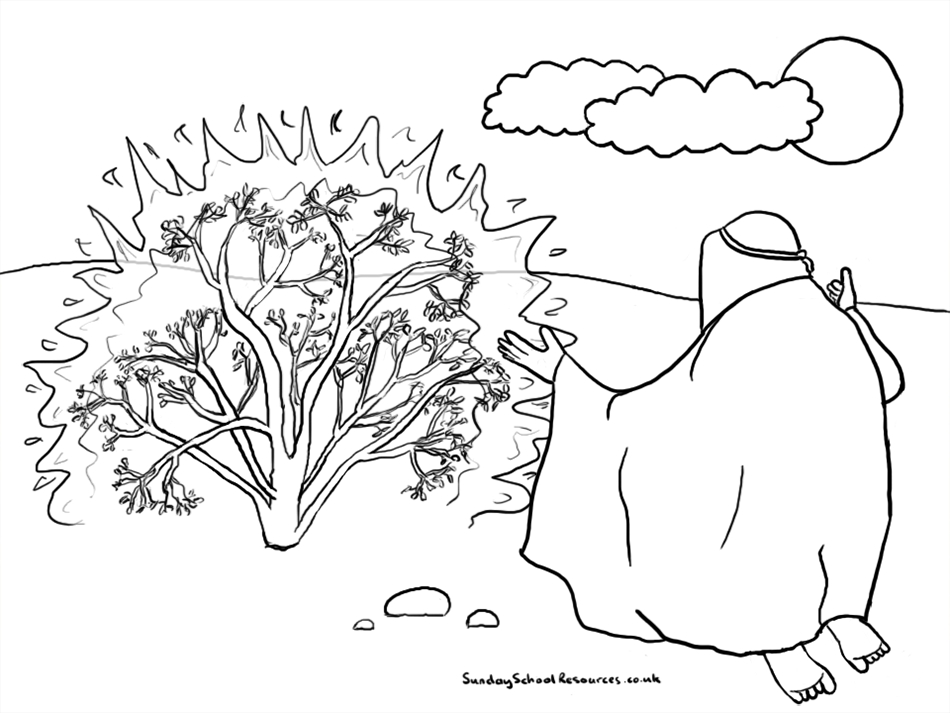 moses and the burning bush coloring page - moses burning bush