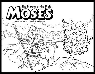 moses and the burning bush coloring page - f1o0