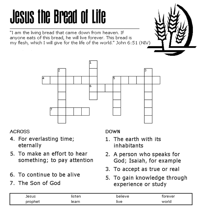 moses coloring pages - bread of life crossword