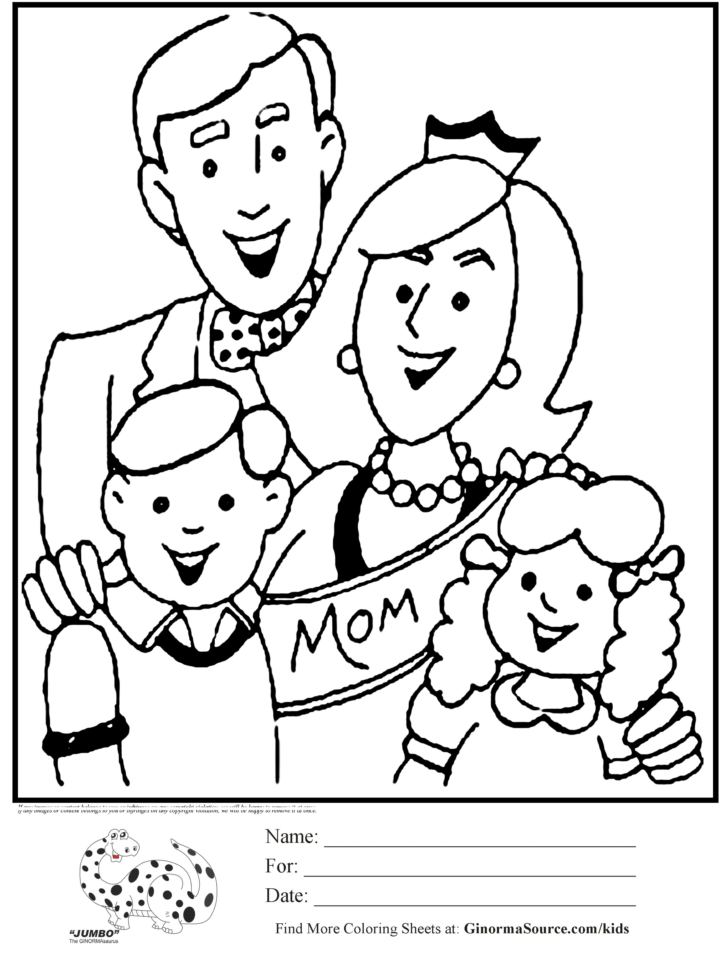 mother's day printable coloring pages - coloring pictures of family