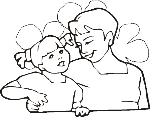 mother's day printable coloring pages - mother and daughter