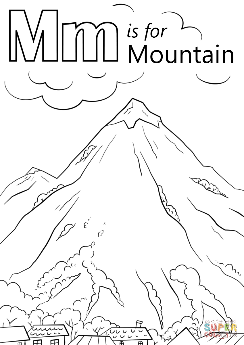 mountain coloring pages - letter m is for mountain