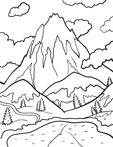 mountain coloring pages -
