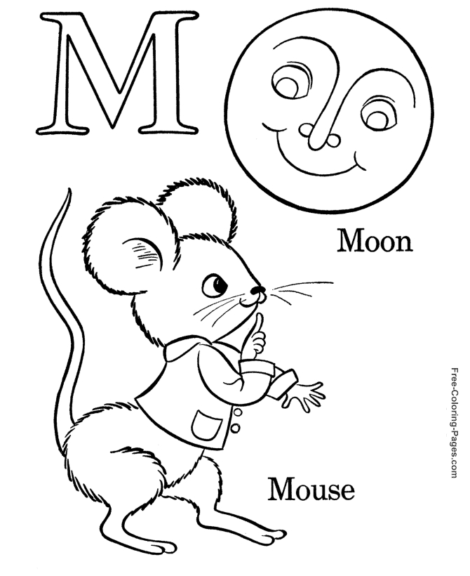 mouse coloring page - alphabet 17