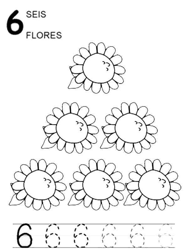 mr potato head coloring page - learn number 6 with six sunflowers coloring page