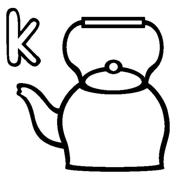 mr potato head coloring page - letter k is for kettle coloring page