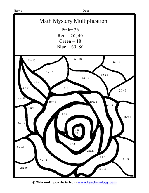 multiplication coloring pages - math coloring pages multiplication
