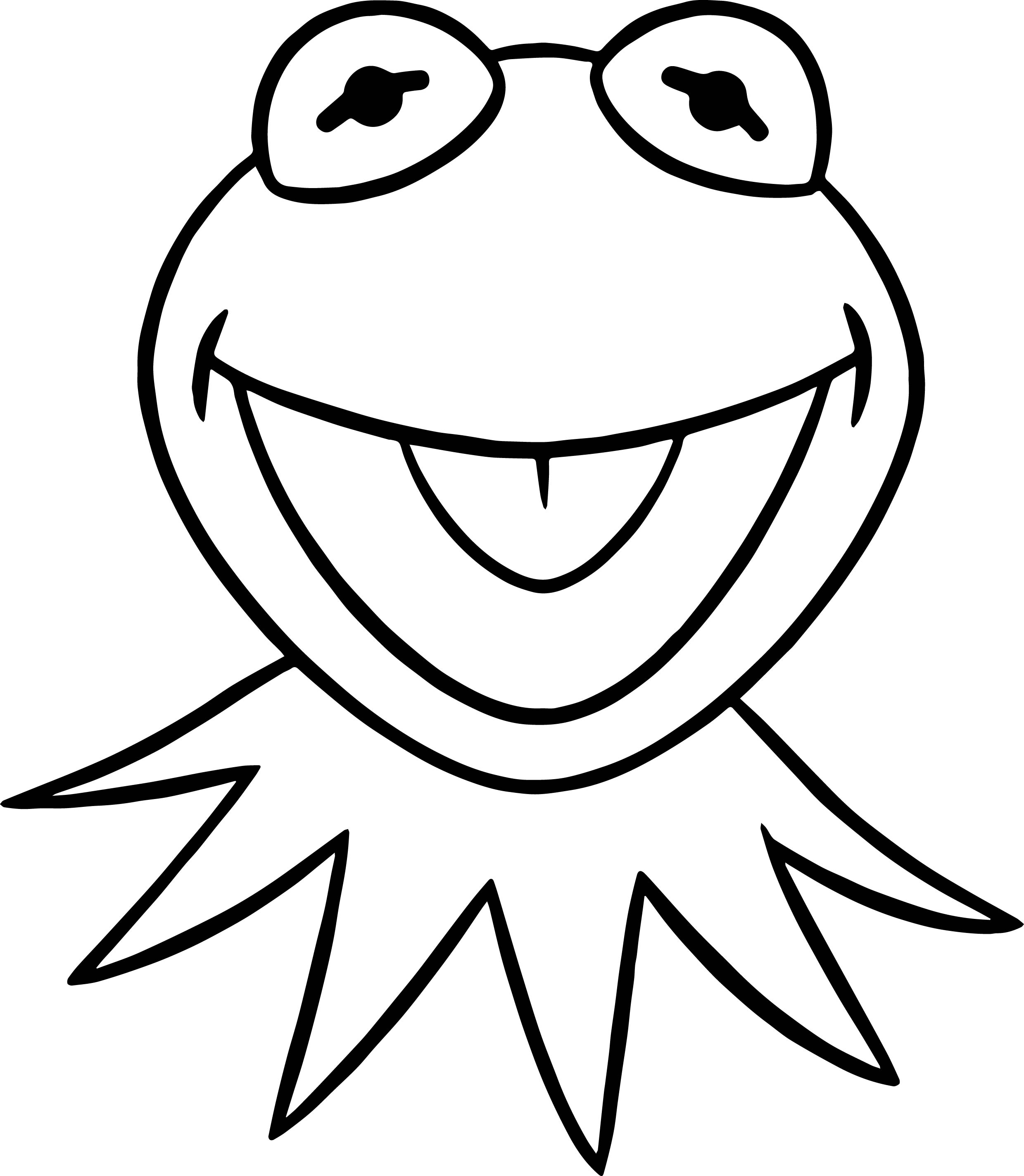 muppets coloring pages - muppets kermit happy frog coloring pages
