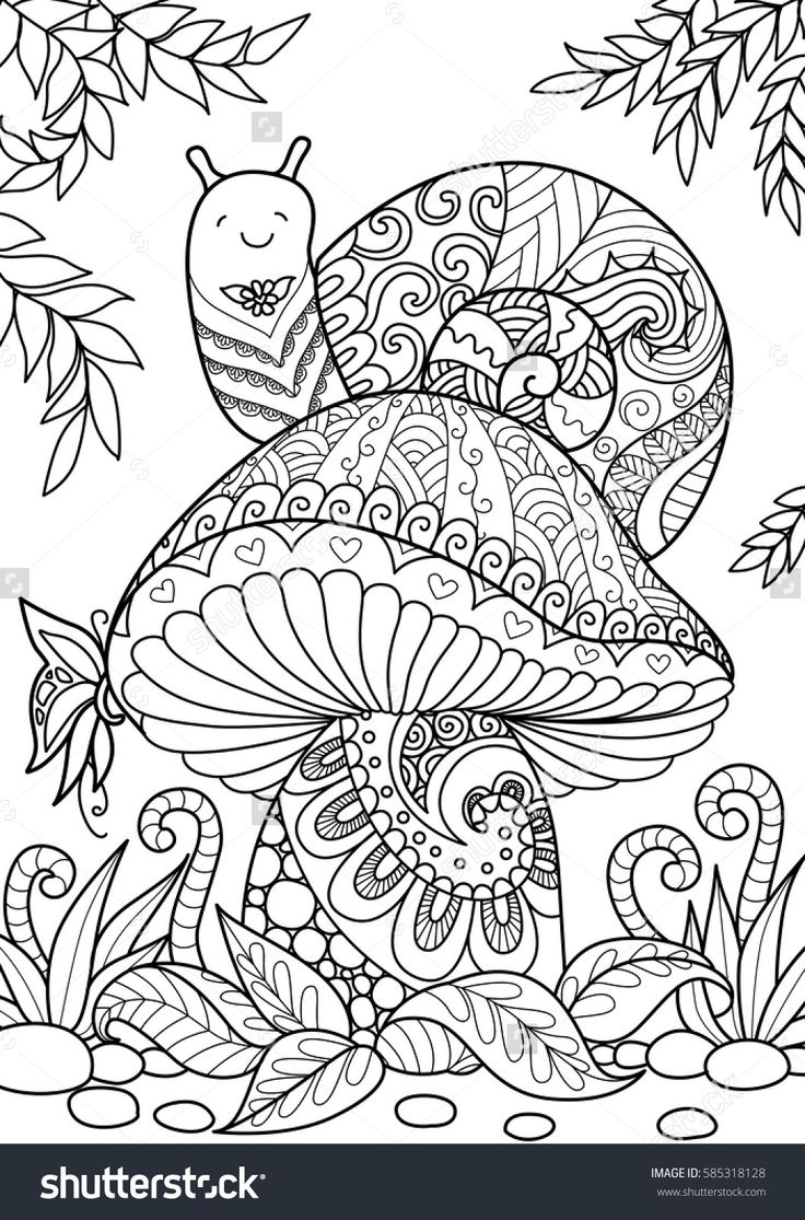 mushroom coloring pages - mushrooms toadstools coloring pages for adults