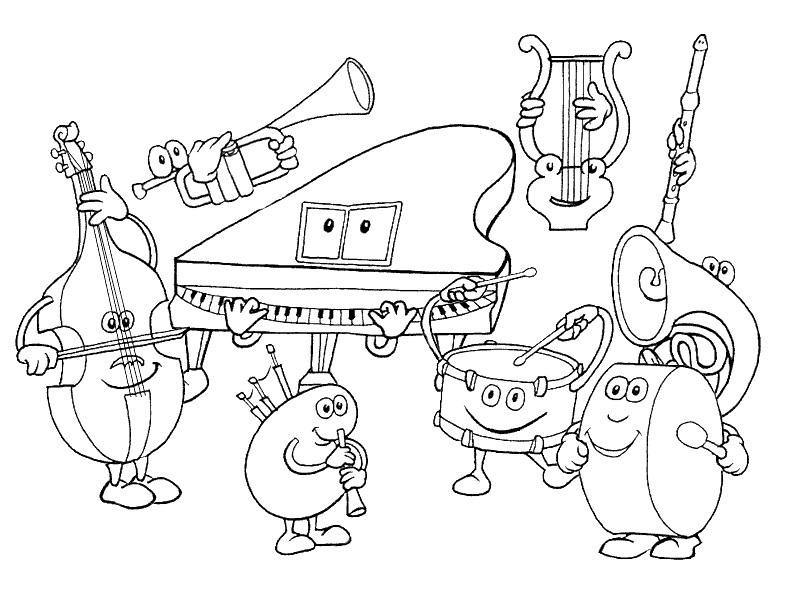 musical instruments coloring pages - q=musical instruments