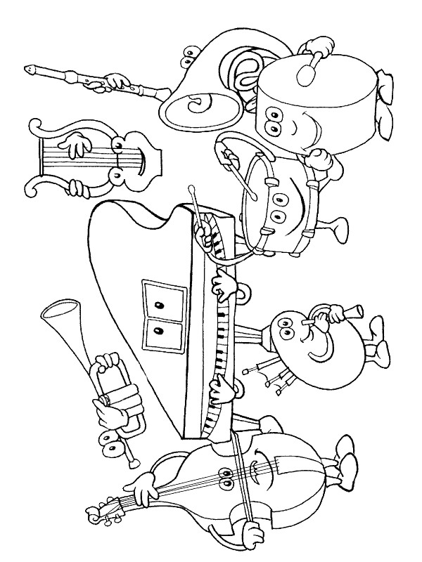 musical instruments coloring pages - musical instruments
