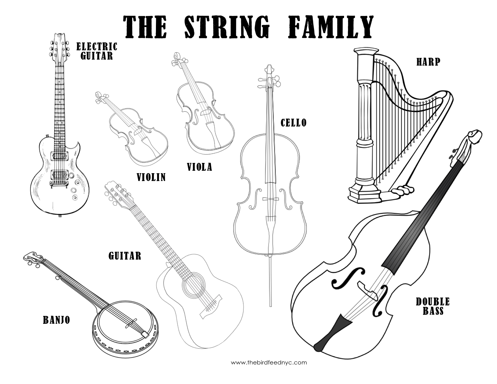 musical instruments coloring pages - musical instrument coloring sheets the string family