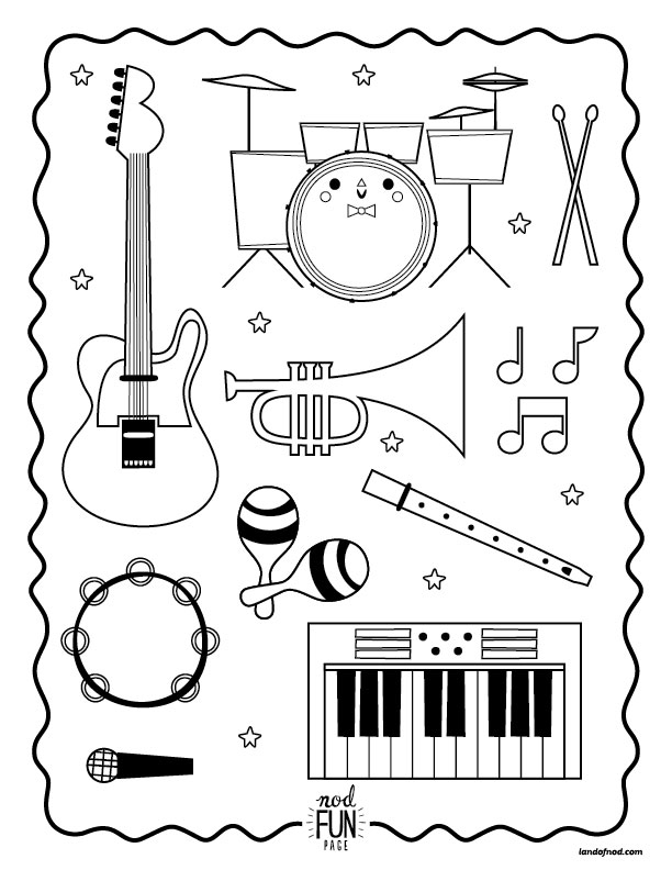 musical instruments coloring pages - nod printable coloring page instruments musical kiddos
