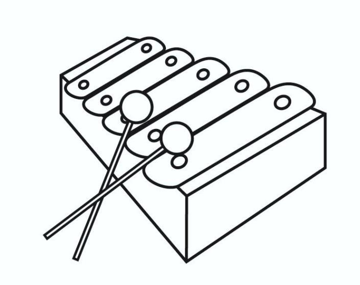 Musical Instruments Coloring Pages - Xylophone Music Instrument Coloring Pages