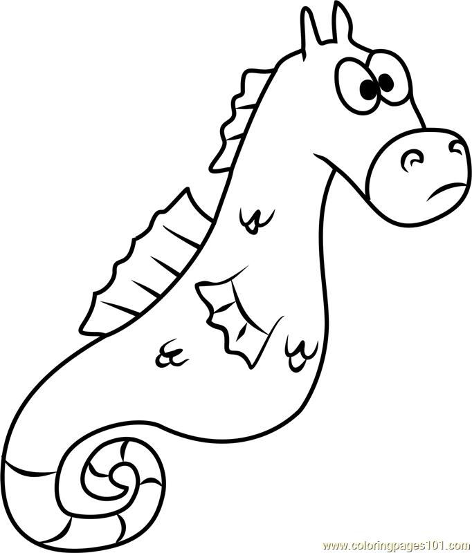 mystery coloring pages - mystery the seahorse coloring page