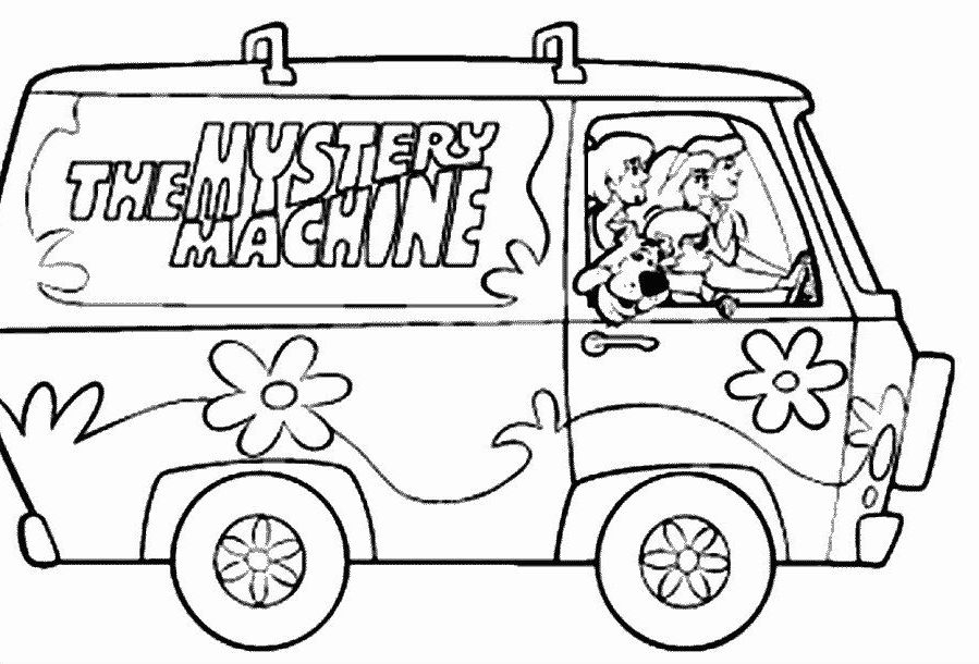 mystery coloring pages - scooby doo and the mystery machine coloring pages